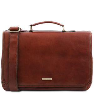 The Front View Of The Brown Leather Briefcase Bag