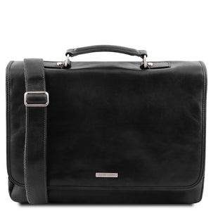 The Front View Of The Black Genuine Leather Briefcase