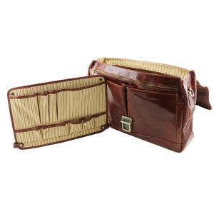 Feature Divider View Of The Brown Genuine Leather Briefcase