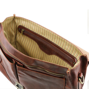 Internal Zip Pocket View Of The Brown Genuine Leather Briefcase