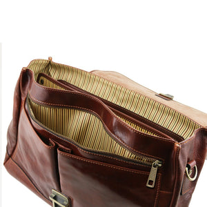 Frontal Zip Pocket View Of The Brown Genuine Leather Briefcase
