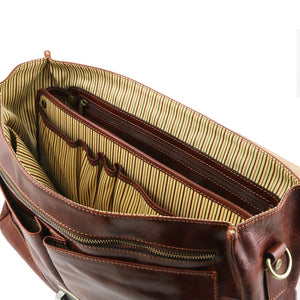 Internal Compartment View Of The Brown Genuine Leather Briefcase