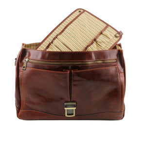 Removable Divider View Of The Brown Genuine Leather Briefcase