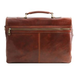Rear View Of The Brown Genuine Leather Briefcase
