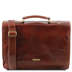 The Front View Of The Brown Genuine Leather Briefcase