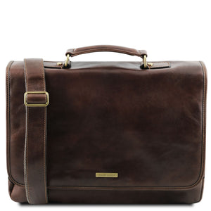 The Front View Of The Dark Brown Genuine Leather Briefcase