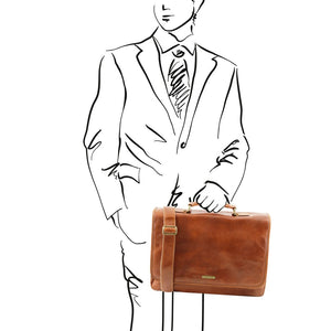 Man Posing With The Honey Genuine Leather Briefcase