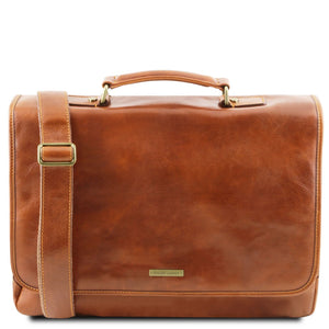 The Front View Of The Honey Genuine Leather Briefcase