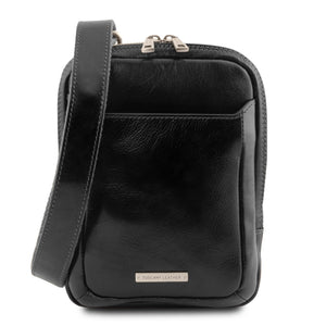 Front View Of The Black Crossbody Bag Mens