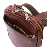 Top Angled Zip Opening View Of The Brown Crossbody Bag Mens