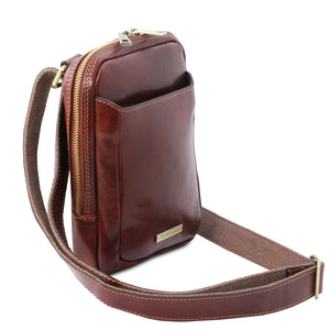 Angled And Shoulder Strap View Of The Brown Crossbody Bag Mens
