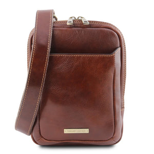 Front View Of The Brown Crossbody Bag Mens