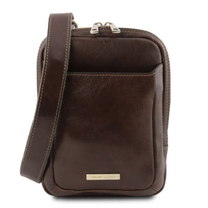 Front View Of The Dark Brown Crossbody Bag Mens