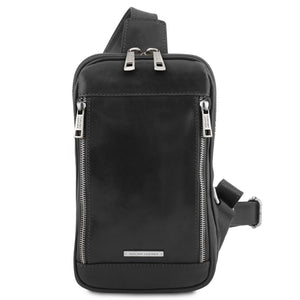 Front View Of The Black Mens Crossover Leather Bag