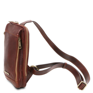 Cross Over Leather Strap View Of The Brown Mens Crossover Leather Bag