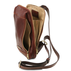 Compartment And Zip Pocket View Of The Brown Mens Crossover Leather Bag