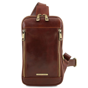 Front View Of The Brown Mens Crossover Leather Bag