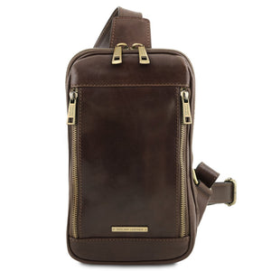 Front View Of The Dark Brown Mens Crossover Leather Bag