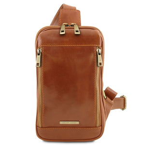Front View Of The Honey Mens Crossover Leather Bag
