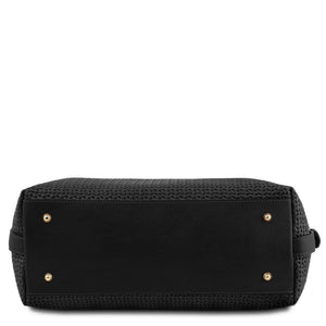 Underneath View Of The Black Fashionable Duffle Bag
