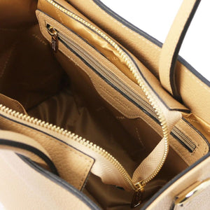 Internal View Of The Champagne Leather Tote
