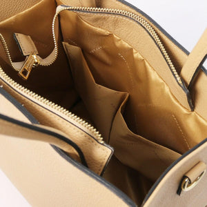 Internal Pocket View Of The Champagne Vertical Leather Tote