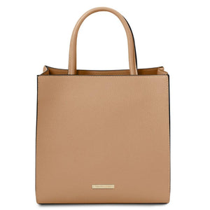 Front View Of The Champagne Vertical Leather Tote