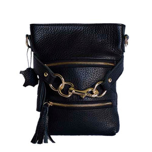 Front View Of The Carly Black Leather Handbag