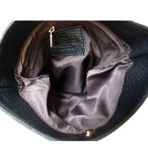 Internal View Of The Carly Black Leather Handbag