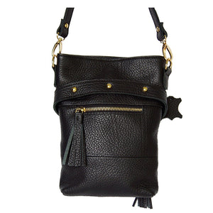 Rear Zipper Pocket And Features View Of The Carly Black Leather Handbag