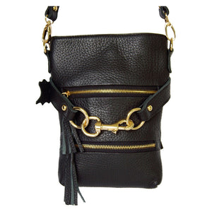 Front Golden Features View Of The Carly Black Leather Handbag