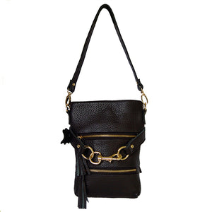 Full View With Shoulder Strap Of The Carly Black Leather Handbag