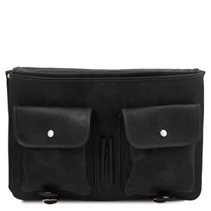 Front Pockets View Of The Black Mens Leather Messenger Bag