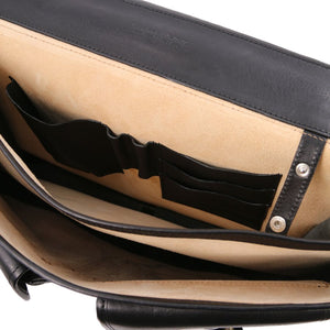 Internal Compartment View Of The Black Mens Leather Messenger Bag