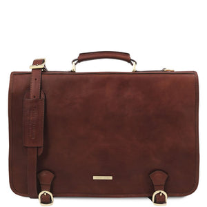 Front View Of The Brown Mens Leather Messenger Bag