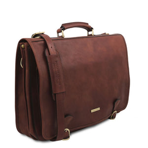 Angled And Shoulder Strap View Of The Brown Mens Leather Messenger Bag