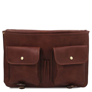Front Pockets View Of The Brown Mens Leather Messenger Bag