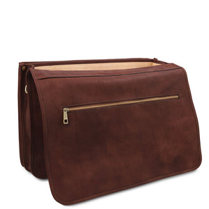 Opening Flap View Of The Brown Mens Leather Messenger Bag