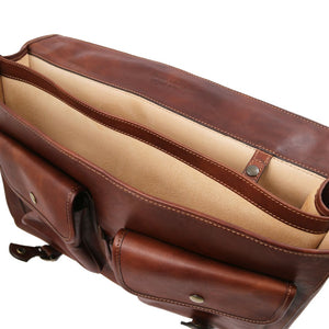 Internal Compartment View Of The Brown Mens Leather Messenger Bag