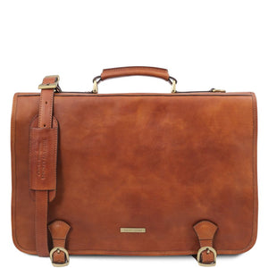 Front View Of The Natural Mens Leather Messenger Bag