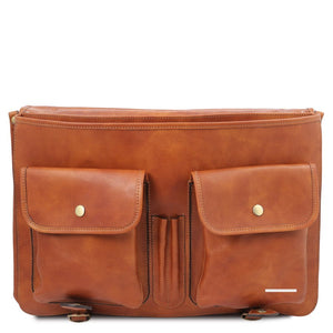 Front Pockets View Of The Natural Mens Leather Messenger Bag