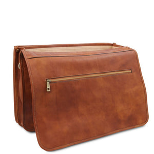 Opening Flap View Of The Natural Mens Leather Messenger Bag