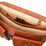 Internal Compartment View Of The Natural Mens Leather Messenger Bag