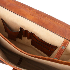 Internal Features View Of The Natural Mens Leather Messenger Bag