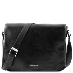 Front View Of The Black Leather Laptop Briefcase