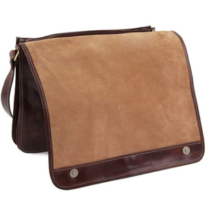 Full Opening Flap View Of The Brown Leather Laptop Briefcase