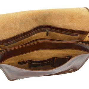 Internal Compartment And Features View Of The Brown Leather Laptop Briefcase