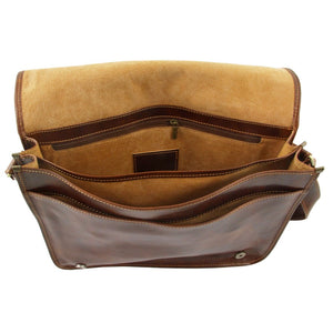 Internal View Of The Brown Leather Laptop Briefcase