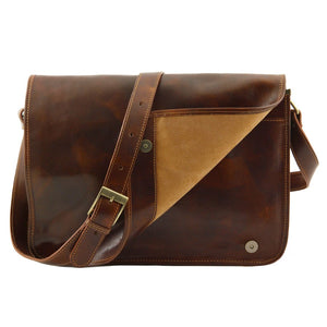 Opening Flap View Of The Brown Leather Laptop Briefcase