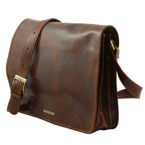 Angled View Of The Brown Leather Laptop Briefcase